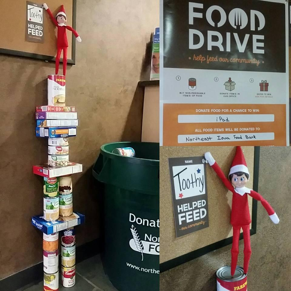 Day 5! Today we found Toothy donating to the Northeast Iowa Food Bank to